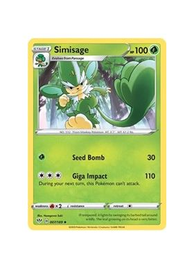 Simisage (Reverse Holo) - Darkness Ablaze - Pokemon - Big Orbit Cards