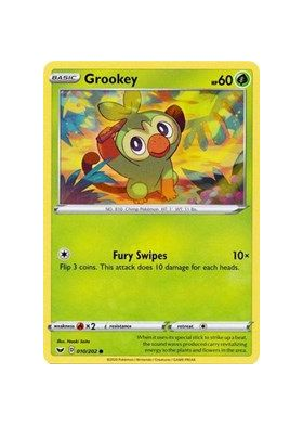 Grookey (010) (Reverse Holo) - Sword and Shield - Pokemon - Big Orbit Cards