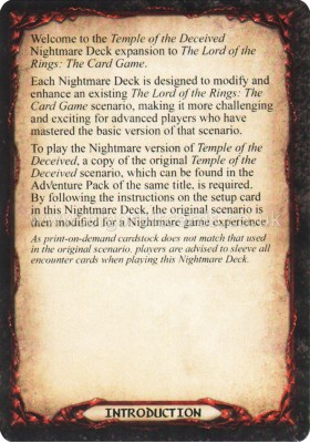 Introduction (Temple of the Deceived) - Temple of the Deceived - The Lord of the Rings The Card Game - Big Orbit Cards