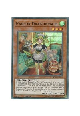 Parlor Dragonmaid - Super Rare (1st Edition) - Mystic Fighters - Yu-Gi-Oh! - Big Orbit Cards